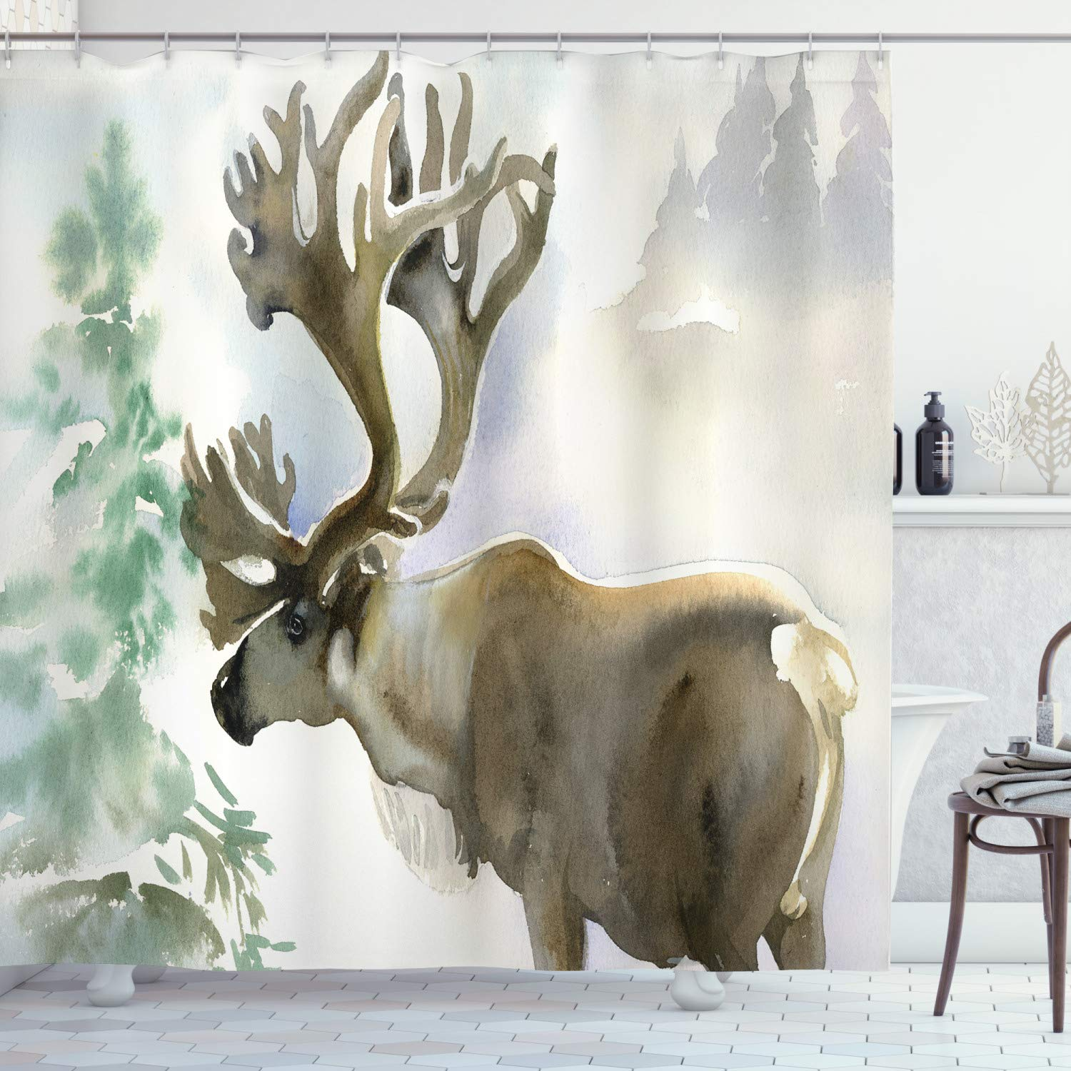 """Ambesonne Antlers Shower Curtain, Moose in Winter Forest Wildlife Reindeer Christmas Theme Watercolor Painting Style, Cloth Fabric Bathroom Decor Set with Hooks, 84"""" Long Extra, Beige Green"""