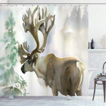 "Ambesonne Antlers Shower Curtain, Moose in Winter Forest Wildlife Reindeer Christmas Theme Watercolor Painting Style, Cloth Fabric Bathroom Decor Set with Hooks, 84"" Long Extra, Beige Green"