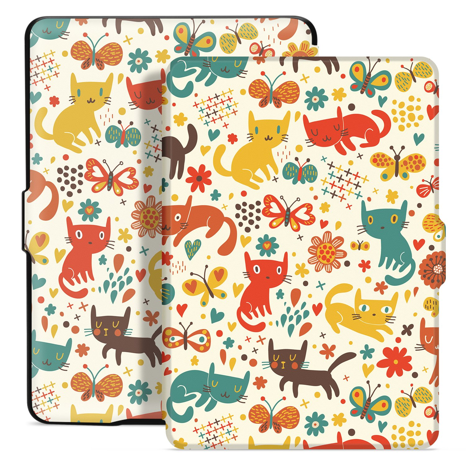 Ayotu Colorful Case for Kindle Paperwhite Auto Wake/Sleep Smart Protective Cover Case - Fits All Paperwhite Generations Prior to 2018(Not Fit All-New Kindle Paperwhite 10th Gen) K5-04 The Cat