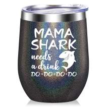 Mama Shark Needs a Drink - Gifts for Mom - Funny Birthday Gifts for Mom from Daughter, Son - Mom gifts for Christmas, Mother's Day, New Mon, Mommy, Wife, Women - 20 oz Tumbler Mug Cup - Black