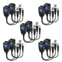 Passive Video Balun RJ45 Transceiver Transmitter HD-CVI/TVI/AHD/CVBS with DC Built-in Transient Suppression Protection for 720P/960P/1080P/2MP CCTV Security DVR Surveillance Camera System 5 Pairs