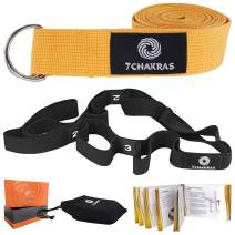 7 Chakras Yoga Strap Sets with Printed Guide Book and Cotton Travel Bag Included in a Gift Box Set