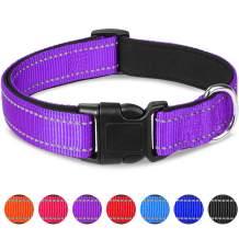 Joytale Reflective Dog Collar,Soft Neoprene Padded Breathable Nylon Pet Collar Adjustable for Small Medium Large Dogs,12 Colors,4 Sizes