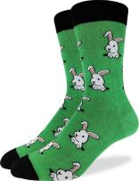 Good Luck Sock Men's Bunny Rabbit Crew Socks - Green, Shoe Size 7-12