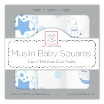 SwaddleDesigns Cotton Muslin Squares, Set of 3, Pastel Blue Nautical Little Ships Fun