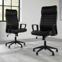 HON BASYX BSX110 Executive Chair with Integrated Headrest, Black Leather