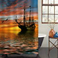 """MitoVilla Ancient Sailboat Sailing in Ocean Shower Curtain with Sunset Over The Horizon Following by Seagull, Popular Motif in Nautical Art Print for Pirate Ship Bathroom Decor, Gold, 72"""" W x 72"""" L"""