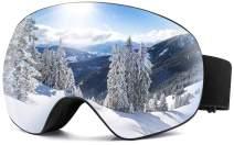 SHRAKMOUTH Snow Ski Goggles, Choice for Men and Women, Over The Glasses Frames, Anti-Fog Spherical Lenses Rainbow Color Broad Visibility, 100% UV400 Protection, Helmet Fit for Winter Season