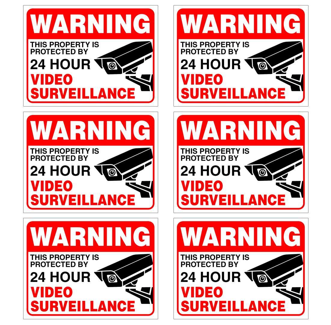 "(Set of 6) Warning - 24 HR Video Surveillance Sign - 3"" x 4"" - 4 Mil Vinyl - Laminated for Ultimate Protection & Durability - Self Adhesive Decal - UV Protected & Weatherproof - Heavy Duty"