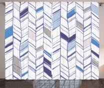 """Ambesonne Chevron Curtains, Tribal Zigzag Lines Pattern in Various Shades Geometric Sketch, Living Room Bedroom Window Drapes 2 Panel Set, 108"""" X 108"""", Taupe White"""