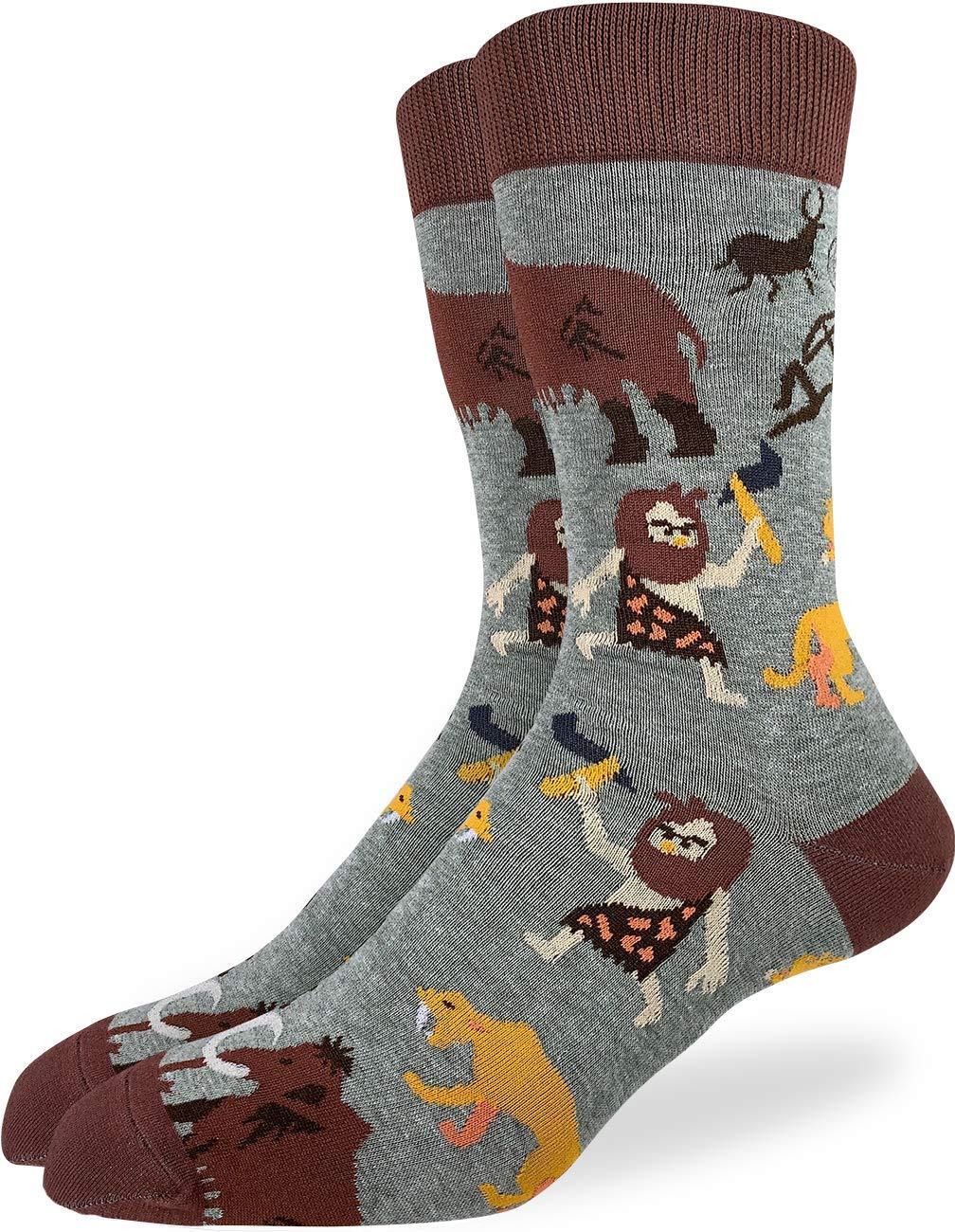 Good Luck Sock Men's Cavemen Socks - Green, Adult Shoe Size 7-12