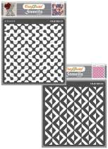 CrafTreat Geometric Stencils for Painting on Wood, Wall, Tile, Canvas and Floor - Abstract Connected Arcs and 3D Square Pattern - 2 Pcs - 6x6 Inches Each - Reusable DIY Art and Craft Stencils