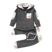 Toddler Infant Baby Boys Girls Stylish Plaid Floral Pocket Hooded Sweatshirt Coat, Kids Jackets Tops +Pants Outfit Sets