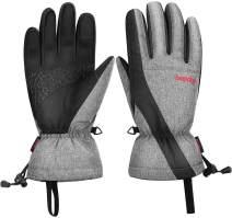 BOODUN Men's Women's Warm Snowboard Ski Gloves Breathable PU Waterproof Cotton