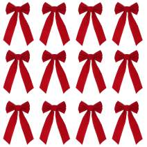 "JOYIN 12 Pack Red Velvet Bows, 16"" Long 9"" Wide 5 Loop Christmas Bows"