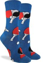 Good Luck Sock Women's Ping Pong Socks - Blue, Adult Shoe Size 5-9