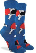 Good Luck Sock Women's Ping Pong Socks - Blue, Adult Shoe Size 5-9