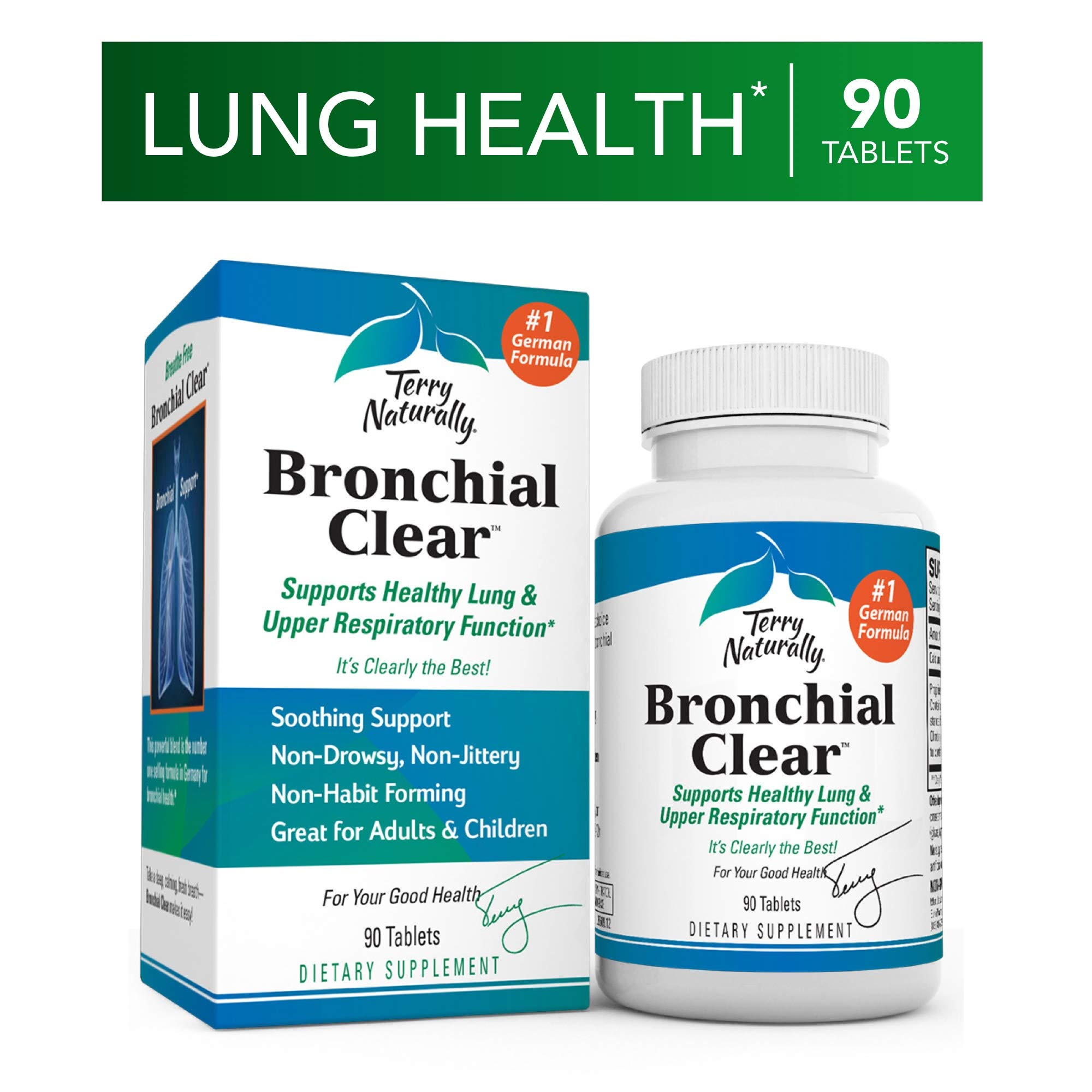 Terry Naturally Bronchial Clear - 90 Tablets - Soothing Lung & Upper Respiratory Function Support Supplement, Non-Drowsy, Non-Jittery - Non-GMO, Gluten-Free - 90 Servings