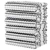 100% Cotton Kitchen Towel Set|Stripe Weave|Soft|Absorbent |Quick Drying|Multipurpose Kitchen Towels|Kitchen Towels and Dishcloths Sets|Tea Towels and Bar Towels|15x26|Pack of 6|Grey Stripes