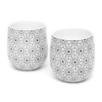 Double Walled Coffee Cups, Dobbelt Set of 2, 6 Ounce, Circle Pattern - Insulated Ceramic Mugs for Latte, Cappuccino, Tea - Modern, Contemporary, Art Deco Design - Box Set, by Kop & Hagen