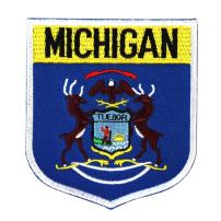 State Flag Shield Michigan Patch Badge Travel USA Embroidered Iron On Applique