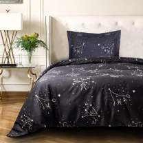 NTBAY Microfiber Twin Duvet Cover Set, 2 Pieces Ultra Soft Constellation Printed Comforter Cover Set with Zipper Closure and Corner Ties, Black
