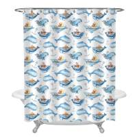 MitoVilla Watercolor Seamless Pattern with Sea Life Kids Bathroom Ornaments, Cute Cartoon Whale Shower Curtain Set with 12 Free Hooks, Waterproof Fabric, Blue White, 72 x 78 inches Long