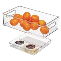 """iDesign Plastic Kitchen Storage Bins with Handles, Containers for Pantry, Refrigerator, Freezer, Cabinets, 14.5"""" x 8"""" x 4.12"""", 2-Piece Set - Clear"""