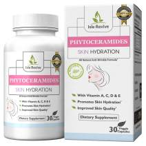 Phytoceramides Skin Care Supplement Plus Vitamins A,C,D & E - Natural Plant Derived Rice Based Anti-Aging Formula Promotes Healthy Cellular Skin Hydration, Collagen, Diminishes Fine Lines, Wrinkles