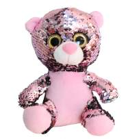 Athoinsu Flip Sequin Teddy Bear Plush Toy Sparkle Stuffed Animals with Reversible Glitter Sequins Interactive Gifts for Kids Toddlers, Pink, 7''