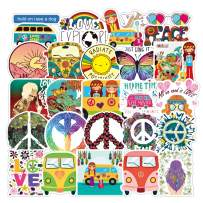 Peace Love Hippie Stickers 50PCS Hippy Bus Laptop Sticker Waterproof Vinyl Stickers for Water Bottles, Skateboard, Phone, Computer, Motorcycle, Bumper, Guitar Cute Luggage Decals Graffiti Patches