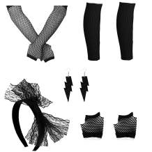 FIBO STEEL Women's 80s Outfit Costume Accessories for Women Neon Earrings Fishnet Gloves Leg Warmers Sets