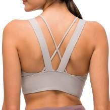 Lavento Women's Strappy Sports Bra Longline Padded Medium Support Workout Yoga Bra Tops
