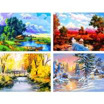 """Ginfonr 4 Pack 5D Diamond Painting Full Drill Four Season Landscape by Number Kits, Spring Summer Autumn Winter Scenery Rhinestone Craft Paint with Diamonds Art Decor 30x40 cm (12""""x16"""")"""