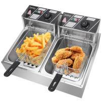 Electric Deep Fryer w/Basket & Lid, Countertop Kitchen Frying Machine, 12.7QT/12L 5000W MAX Stainless Steel Commercial Deep Fryer for Turkey, French Fries, Donuts