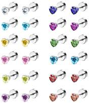 ORAZIO CZ Stud Earrings for Girls Women Stainless Steel Cubic Zirconia Love Heart Earrings Screwback