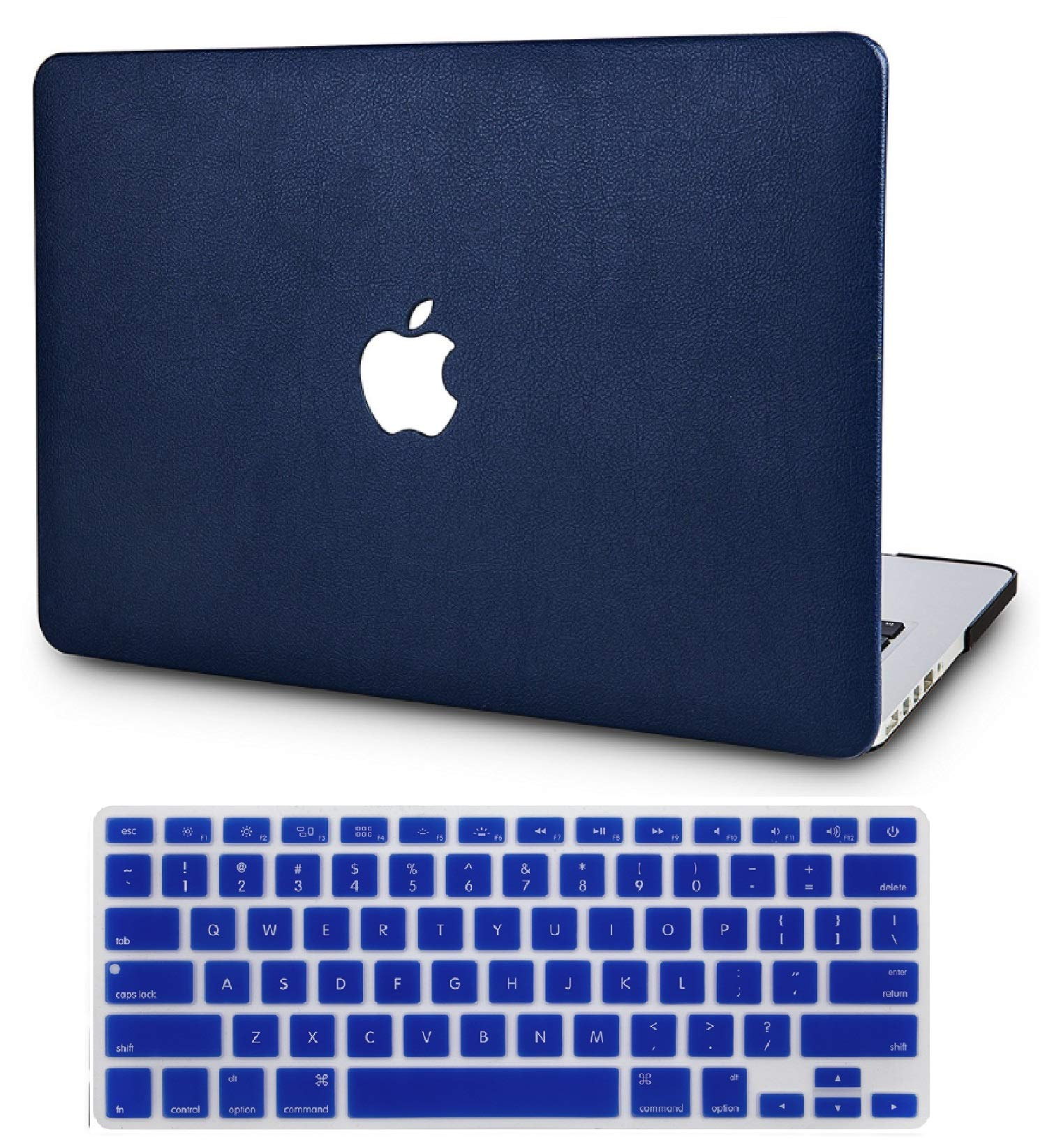 """KECC Laptop Case for MacBook Air 13"""" w/Keyboard Cover Italian Leather Case A1466/A1369 2 in 1 Bundle (Navy Blue Leather)"""