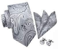 HISDERN Mens Tie Set Classic Woven Necktie with Pocket Suqare Cufflinks Formal
