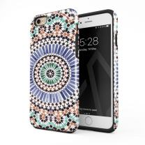 BURGA Phone Case Compatible with iPhone 6 Plus / 6s Plus - Pastel Illusion Moroccan Marrakesh Tile Pattern Colorful Mosaic Heavy Duty Shockproof Dual Layer Hard Shell + Silicone Protective Cover