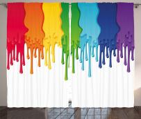 """Ambesonne Abstract Curtains, Rainbow Colored Paint with Leaking Splattered Drops Creative Graphic Design, Living Room Bedroom Window Drapes 2 Panel Set, 108"""" X 90"""", Rainbow Colors"""