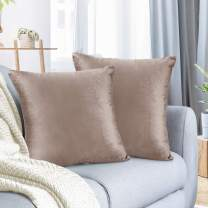 """Nestl Bedding Throw Pillow Cover 24"""" x 24"""" Soft Square Decorative Throw Pillow Covers Cozy Velvet Cushion Case for Sofa Couch Bedroom, Set of 2, Taupe Sand"""