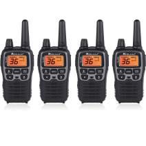 """Midland T71VP3 36 Channel FRS Two-Way Radio - Up to 38 Mile Range Walkie Talkie - Black/Silver (Pack of 4), 6.2"""" x 1.3"""" x 2.3"""", Model Number: T71X4VP3"""
