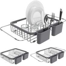 Shanik Expandable Draining Dish Rack - Over-Sink Dish Drainer, Sponge Rack with Two Utensil Holders. Sit in Sink or On Counter. 14 inches to 20.4 inches.