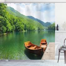 """Ambesonne Nature Shower Curtain, Boats on The Lake by Forest Surreal Serene in Woodland Paastoral Landscape, Cloth Fabric Bathroom Decor Set with Hooks, 70"""" Long, Fern Green"""