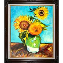 overstockArt Sunflowers, First Version-Framed Oil Reproduction of an Original Painting by Vincent Van Gogh