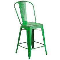 Flash Furniture 24'' High Distressed Green Metal Indoor-Outdoor Counter Height Stool with Back