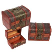 Wooden Treasure Chest Box, Set of 3 Decorative Wood Storage Trunk for Pirate Jewelry Keepsake Toy, Carved Flower