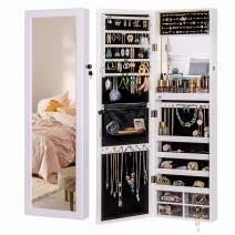 LUXFURNI Mirror Jewelry Cabinet 79 LED Lights Wall-Mount/Door-Hanging Armoire, Lockable Storage Organizer w/Drawers