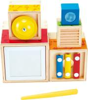 ODYSSEY Hape Stacking Music Set | Colorful 6 Piece Musical Box Toy, Wooden Set for Kids 18 Months+