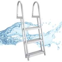 RecPro Marine PONTOON BOAT DOCK HEAVY DUTY ALUMINUM 3 STEP REMOVABLE BOARDING LADDER AL-A3